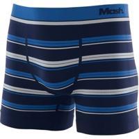 Cueca Boxer Microfibra Sem Costura Listrada Azul Marinho G