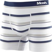 Cueca Boxer Microfibra Sem Costura Listrada Branco M